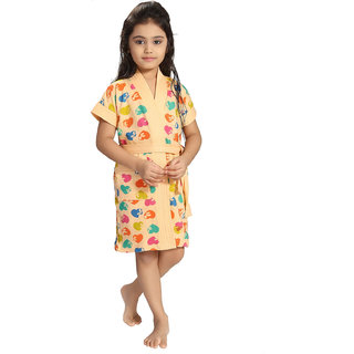 Be You Peach Hearts Print Girls Bath Robe [Size-L (11-13 Yrs)]
