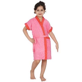 Be You Peach Two-tone Kids Bath Robe for Boys & Girls [Size-L (11-13 Yrs)]