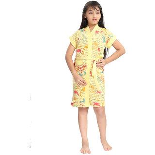 Be You Yellow Letter Print Girls Bath Robe [Size-XS (3-4 Yrs)]