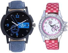 Attractive Blue Dial And Pink Flowers Design Couple Cas