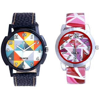 Fancy Orange Colour And Multi Pink Colour Couple Casual Analogue Wrist Watch By VB INTERNATIONAL