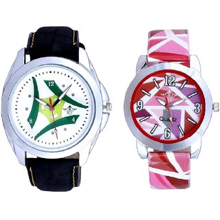 Luxury Green Tri Fan And Multi Pink Colour Couple Casual Analogue Wrist Watch By VB INTERNATIONAL