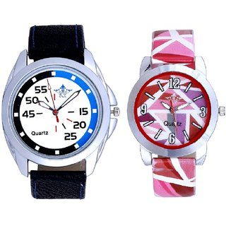 Exclusive Blue-Black Round And Multi Pink Colour Couple Casual Analogue Wrist Watch By VB INTERNATIONAL