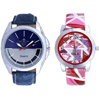 Stylish Smile Dial And Multi Pink Colour Couple Casual Analogue Wrist Watch By VB INTERNATIONAL