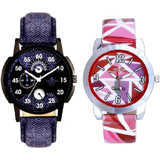 Latest Blue And Multi Pink Colour Couple Casual Analogue Wrist Watch By VB INTERNATIONAL