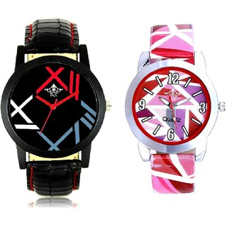 Fancy Roman Digit And Multi Pink Colour Couple Casual Analogue Wrist Watch By VB INTERNATIONAL