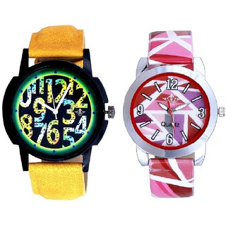 Awesome Exclusive Digits And Multi Pink Colour Couple Casual Analogue Wrist Watch By VB INTERNATIONAL