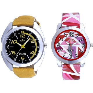 Fancy Yellow Sports Strap And Multi Pink Colour Couple Casual Analogue Wrist Watch By VB INTERNATIONAL