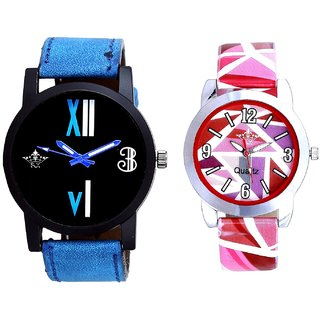 Roman White - Blue Fancy And Multi Pink Colour Couple Casual Analogue Wrist Watch By VB INTERNATIONAL