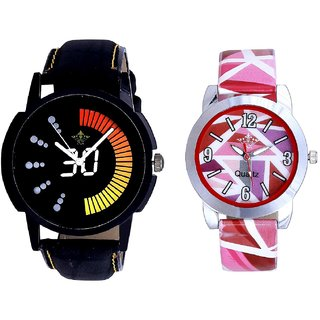 Attractive Race Dial And Multi Pink Colour Couple Casual Analogue Wrist Watch By VB INTERNATIONAL
