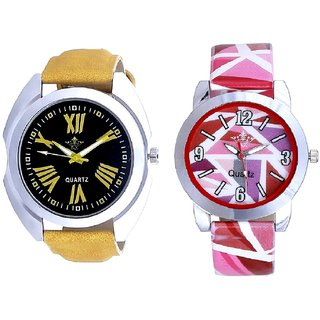Roman Digits Special Design And Multi Pink Colour Couple Casual Analogue Wrist Watch By VB INTERNATIONAL
