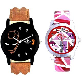 Iron Man Round Dial And Multi Pink Colour Couple Casual Analogue Wrist Watch By VB INTERNATIONAL