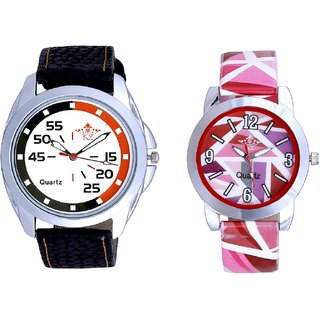Orange Black Multi Dial And Multi Pink Colour Couple Casual Analogue Wrist Watch By VB INTERNATIONAL