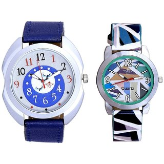 Almight Blue Round Dial And Multi Colour Sky Blue Couple Casual Analogue Wrist Watch By VB INTERNATIONAL