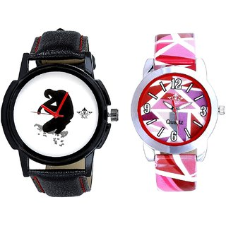 Fancy White Dial And Multi Pink Colour Couple Casual Analogue Wrist Watch By VB INTERNATIONAL