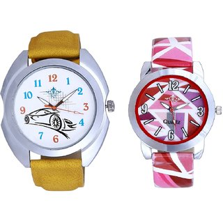 Rolls-Royce Car And Multi Pink Colour Couple Casual Analogue Wrist Watch By VB INTERNATIONAL