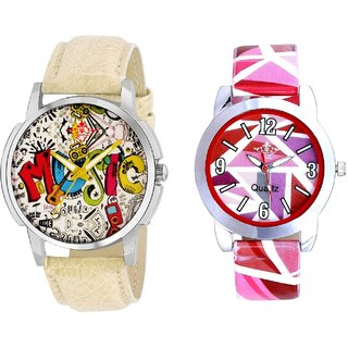 Rock Music And Multi Pink Colour Couple Casual Analogue Wrist Watch By VB INTERNATIONAL