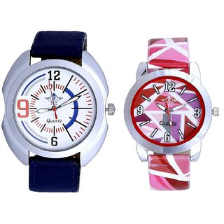 Blue Sport Leather Strap And Multi Pink Colour Couple Casual Analogue Wrist Watch By VB INTERNATIONAL