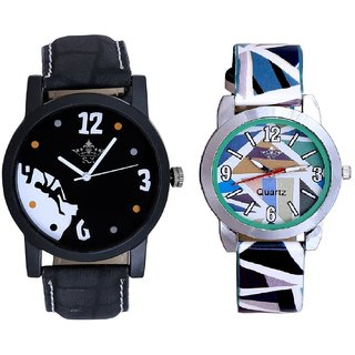 Goal Achived Motivated And Multi Colour Sky Blue Couple Casual Analogue Wrist Watch By VB INTERNATIONAL