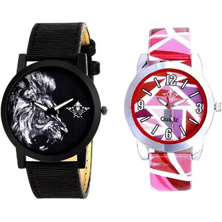 White Lion And Multi Pink Colour Couple Casual Analogue Wrist Watch By VB INTERNATIONAL