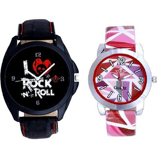 I Love Rock N Roll Print Dial And Multi Pink Colour Couple Casual Analogue Wrist Watch By VB INTERNATIONAL