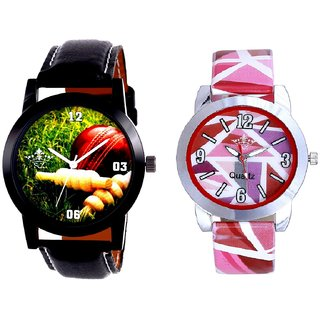 Cricket Super Design And Multi Pink Colour Couple Casual Analogue Wrist Watch By VB INTERNATIONAL