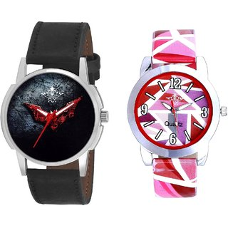 Black - Red Fancy Dial And Multi Pink Colour Couple Casual Analogue Wrist Watch By VB INTERNATIONAL