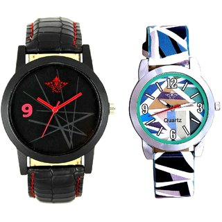 Star Design Round Dial And Multi Colour Sky Blue Couple Casual Analogue Wrist Watch By VB INTERNATIONAL