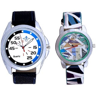 Exclusive Blue-Black Round And Multi Colour Sky Blue Couple Casual Analogue Wrist Watch By VB INTERNATIONAL
