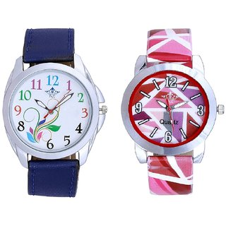 Colouring Flowers And Multi Pink Colour Couple Casual Analogue Wrist Watch By VB INTERNATIONAL