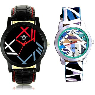 Fancy Roman Digit And Multi Colour Sky Blue Couple Casual Analogue Wrist Watch By VB INTERNATIONAL