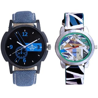 Attractive Blue Dial And Multi Colour Sky Blue Couple Casual Analogue Wrist Watch By VB INTERNATIONAL