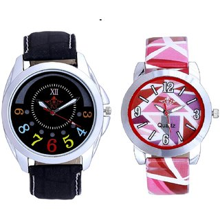 Classical Black Round Dial And Multi Pink Colour Couple Casual Analogue Wrist Watch By VB INTERNATIONAL