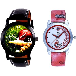 Cricket Super Design And Red Peacock Colour Couple Casual Analogue Wrist Watch By VB INTERNATIONAL