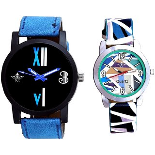 Roman White - Blue Fancy And Multi Colour Sky Blue Couple Casual Analogue Wrist Watch By VB INTERNATIONAL