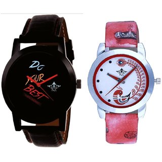 Do Your Best Multi Colour And Red Peacock Colour Couple Casual Analogue Wrist Watch By VB INTERNATIONAL