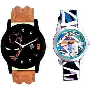 Iron Man Round Dial And Multi Colour Sky Blue Couple Casual Analogue Wrist Watch By VB INTERNATIONAL