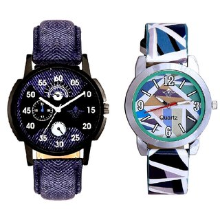 Latest Blue And Multi Colour Sky Blue Couple Casual Analogue Wrist Watch By VB INTERNATIONAL