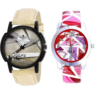 Life Print Dial And Multi Pink Colour Couple Casual Analogue Wrist Watch By VB INTERNATIONAL
