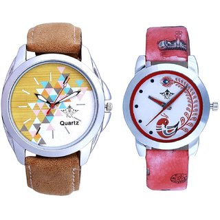 Attractive Design Brown Belt And Red Peacock Colour Couple Casual Analogue Wrist Watch By VB INTERNATIONAL