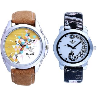 Attractive Design Brown Belt And Black Peacock Feathers Couple Casual Analogue Watch By VB INTERNATIONAL