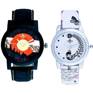 Winter Mount Themes And White Peacock Feathers Couple Casual Analogue Wrist Watch By VB INTERNATIONAL