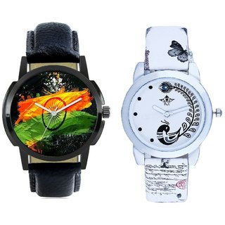 Indian Flage And White Peacock Feathers Couple Casual Analogue Wrist Watch By VB INTERNATIONAL
