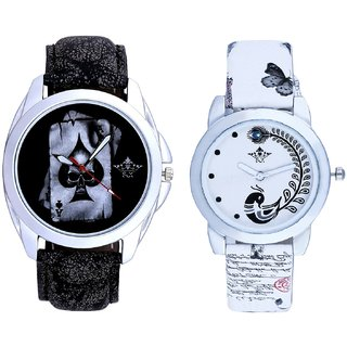 Life Race Akka And White Peacock Feathers Couple Casual Analogue Wrist Watch By VB INTERNATIONAL