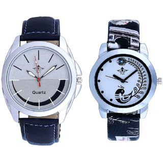 Royal Silver-Black Dial And Black Peacock Feathers Couple Casual Analogue Watch By VB INTERNATIONAL