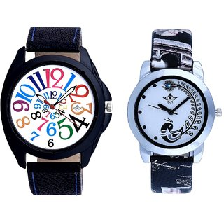 Addition Multi Colour Digits And Black Peacock Feathers Couple Casual Analogue Watch By VB INTERNATIONAL
