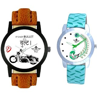 Royal Bullet And Green Peacock Couple Casual Analogue Wrist Watch By VB INTERNATIONAL
