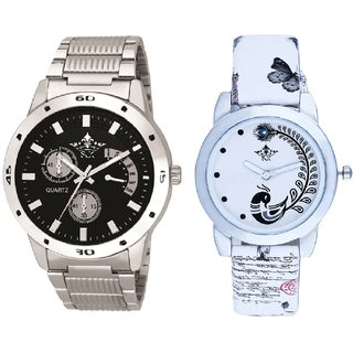 Luxury Black Dial Metal Belt And White Peacock Feathers Couple Casual Analogue Wrist Watch By VB INTERNATIONAL