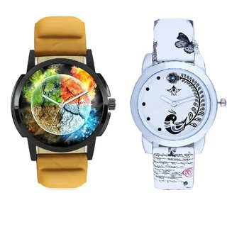 Stylish 3D Designer And White Peacock Feathers Couple Casual Analogue Wrist Watch By VB INTERNATIONAL