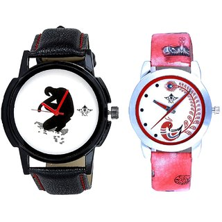 Fancy White Dial And Red Peacock Colour Couple Casual Analogue Wrist Watch By VB INTERNATIONAL